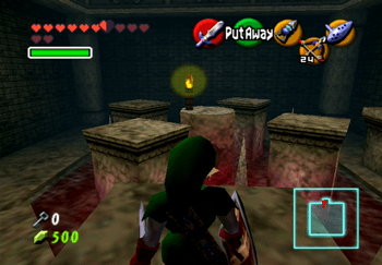Link in the room with the moving platforms above the lava