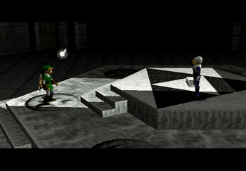 Link speaking to Sheik in the Temple of Time