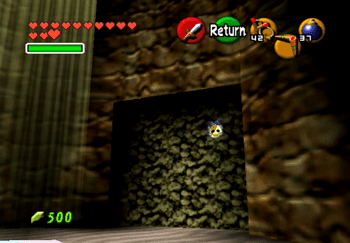 Hidden Gold Skulltula token in the cave near Hyrule Castle