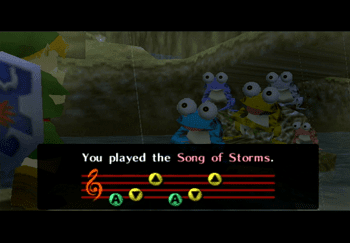 Playing the Song of Storms to the frogs in the river