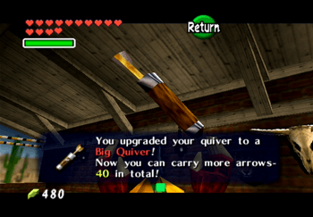 Obtaining the Big Quiver as a reward from the Kakariko Village Shooting Gallery