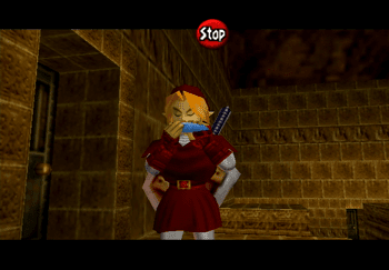 Link playing the Ocarina of Time in the Fire Temple