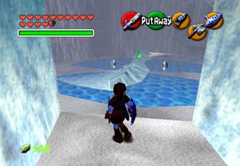 Link standing in front of the Ice Cavern room with the spinning ice