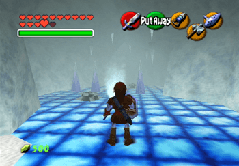 Link in the hallway with the spikes and icicles