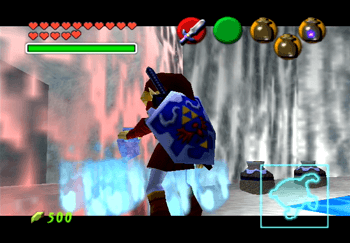 Link using Blue Fire on the red ice