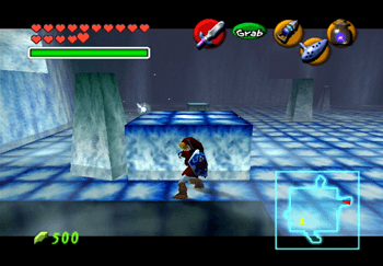 Link pushing the ice block around the room