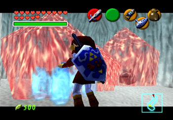 Link using Blue Fire on some red ice