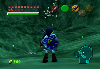 Obtaining the Piece of Heart at the bottom of Zora's Fountain