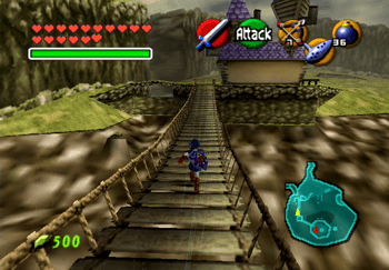 Running across the bridge over Lake Hylia towards the Lakeside Laboratory