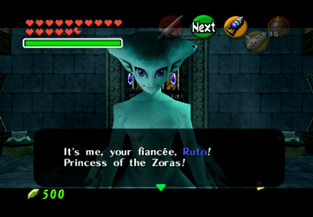 Princess Ruto introducing herself in the Water Temple