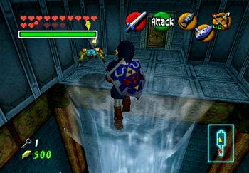 Link jumping across the pillars of water to reach the other side of the room