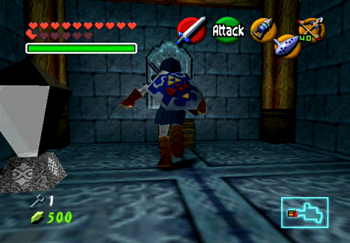 Link approaching a small treasure chest for a Small Key for the Water Temple