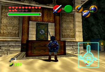 Link looking at the locked door on the central pillar of the Water Temple