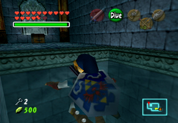 Link floating up to a treasure chest with a Small Key