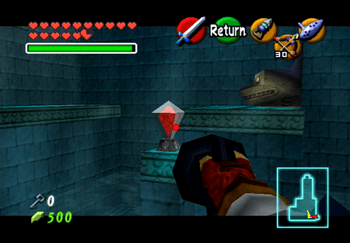 Aiming at the crystal switch in the center of the room