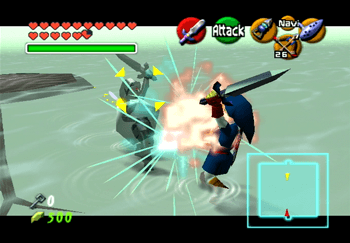 Dark Link and Link battling it out in the Water Temple