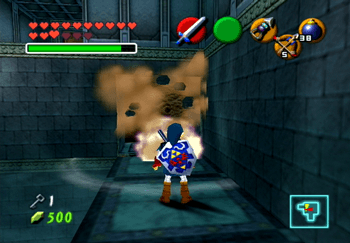 Using a Bomb on the wall in the room of the Water Temple