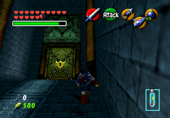 Link approaching the locked Boss Door