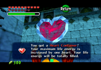 Picking up the Heart Container