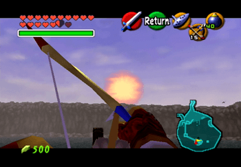 Aiming the Fairy Bow at the sun on the island in the center of Lake Hylia