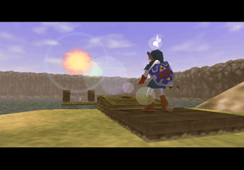 Link looking on towards the Fire Arrows in the center of Lake Hylia