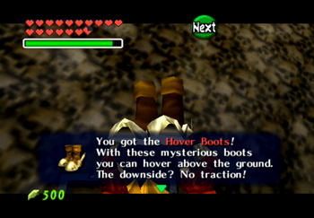 Link obtaining the Hover Boots in the Shadow Temple