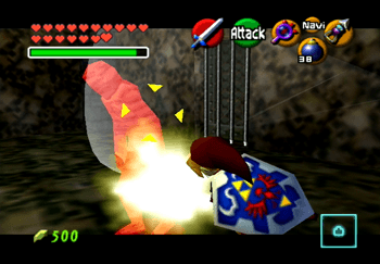 Link attacking a Gibdo in the Shadow Temple
