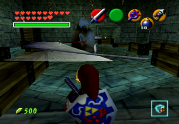 Entering the room with the ghouls and scythes with the Silver Rupees