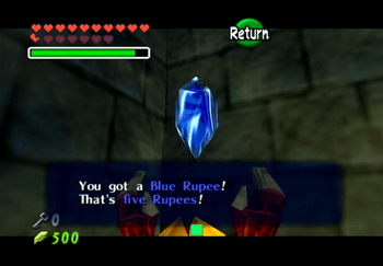 A Blue Rupee obtained from a treasure chest