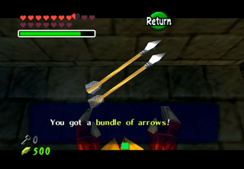 Obtaining a bundle of arrows from a treasure chest