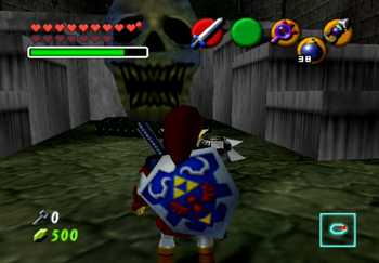 Entering the room with the large Skull with blue flames in the Shadow Temple