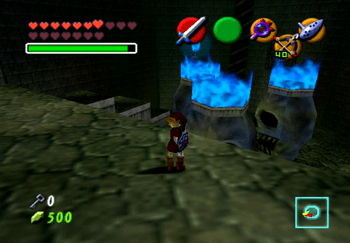 Link looking upon the three skulls with blue flames