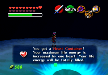 Picking up the Heart Container after defeating Bongo Bongo
