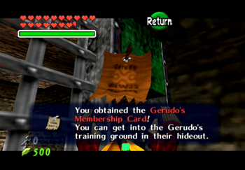 Obtaining the Gerudo Membership Card to wander around the Gerudo Fortress freely
