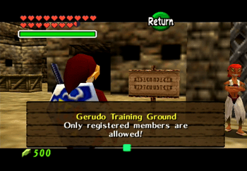 Link reading the Gerudo Training Grounds sign - only registered members are allowed