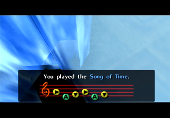 Playing the Song of Time on the Ocarina of Time to remove the blue stones