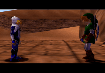 Sheik and Link at the Desert Colossus