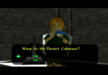 Young Link warping back to the Desert Colossu
