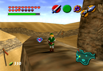 Link standing near the last Piece of Heart in the Desert Colossus