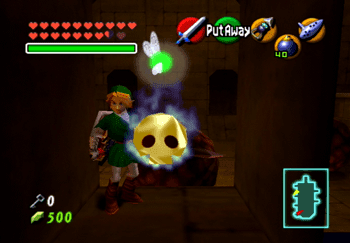 Link standing near a Gold Skulltula in the Spirit Temple