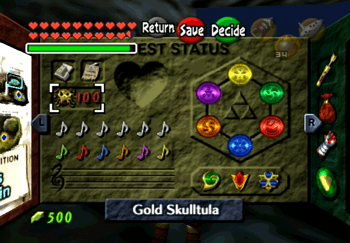 Quest Status screen with 100 out of 100 Gold Skulltulas complete