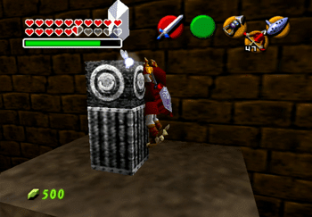 Climbing on top of the pillar to grab a Silver Rupee