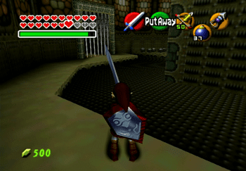 Entering the bottom of Ganondorf's room with the pots