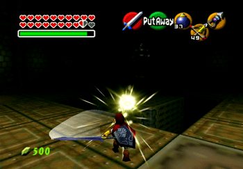 Slashing a light orb back at Ganondorf