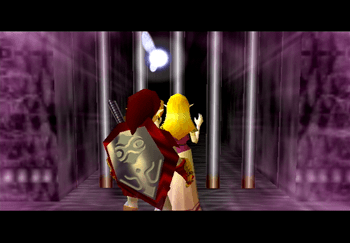 Zelda using a magic spell to release the doorway