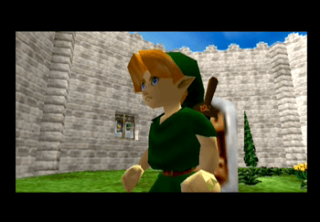 Link standing in the Castle Courtyard meeting with Princess Zelda